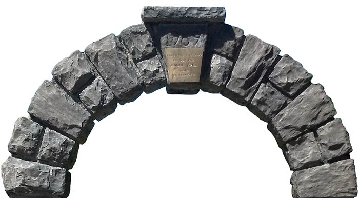 Stone arch with keystone