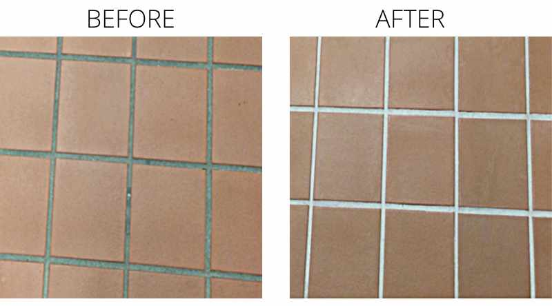 Floor tiles before and after treated with Step Safe